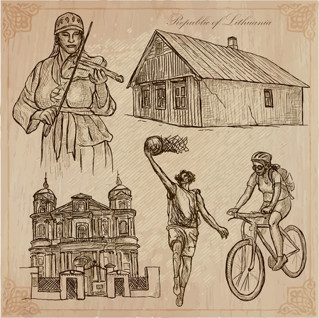 loci: Travel collection. LITHUANIA traveling set. Pictures of Life, Republic of Lithuania.Hand drawn pack, freehand sketching. Illustrations are editable by layers.