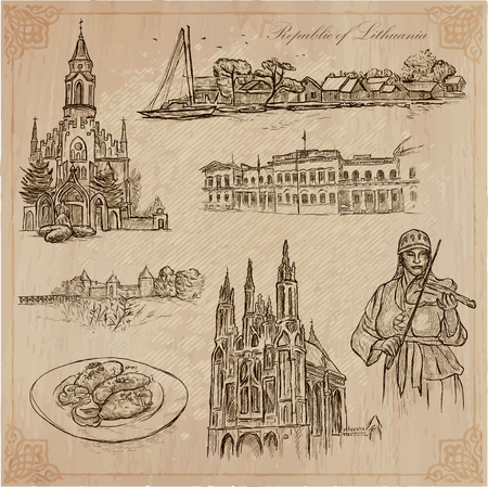presidental: Travel collection.LITHUANIA traveling set.Pictures of Life, Republic of Lithuania.Hand drawn pack, freehand sketching.Illustrations are editable by layers.