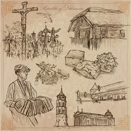 loci: Travel collection.LITHUANIA traveling set.Pictures of Life, Republic of Lithuania.Hand drawn pack, freehand sketching. Illustration