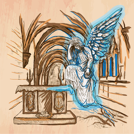 An hand drawn vector - ANGEL - colored line art. Vector is editable in groups and layers - freehand sketching. Illustration
