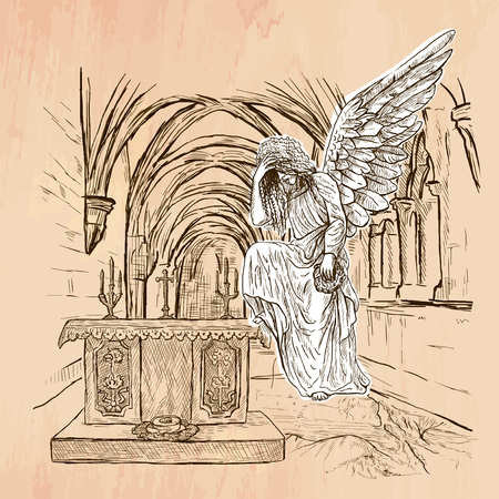 bible altar: An hand drawn vector - ANGEL - colored line art. Vector is editable in groups and layers - freehand sketching. Illustration
