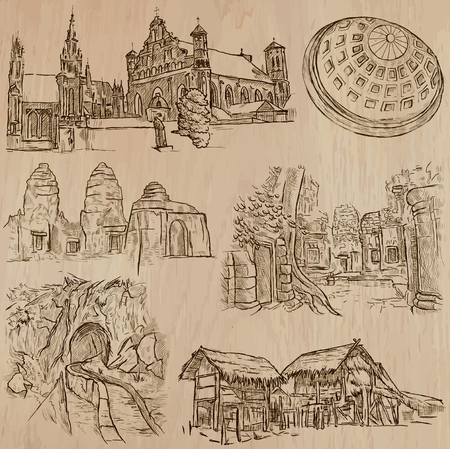 famous places: ARCHITECTURE and Famous Places around the World. An hand drawn vector collection. Freehand drawings. Editable in layers and groups. Background is isolated. All buildings are named inside the file.