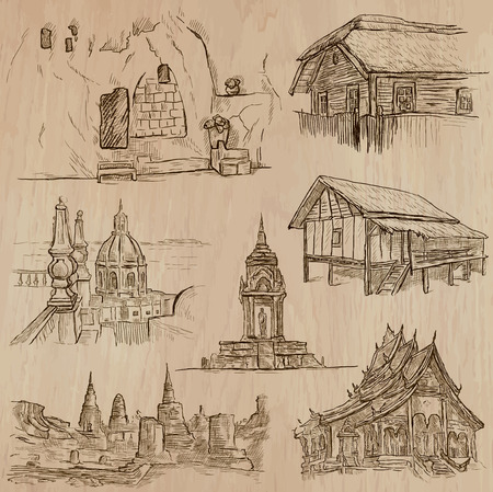 loci: ARCHITECTURE and Famous Places around the World. An hand drawn vector collection. Freehand drawings. Editable in layers and groups. Background is isolated. All buildings are named inside the file.