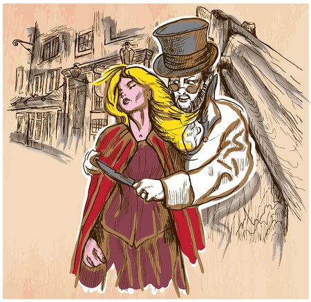 madman: An hand drawn vector, JACK THE RIPPER and his victim. Killer with the knife threatening a young woman in old London city - colored line art. Vector is editable in groups and layers. Freehand sketching