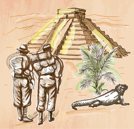 people travelling: An hand drawn vector - ADVENTURERS in front of South American Pyramid - colored line art. Vector is editable in groups and layers - freehand sketching.