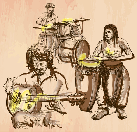 An hand drawn vector - MUSIC BAND, guitar player and drummers - colored line art. Vector is editable in groups and layers - freehand sketching. Illustration
