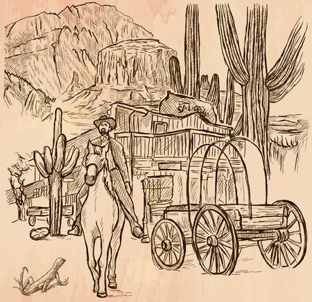 Un vector dibujado a mano - SHERIFF. escena del lejano oeste - Un jinete del caballo delante del salón de madera, paisaje americano, paisaje - línea arte. Vector es editable en grupos y capas - trazado a mano alzada.