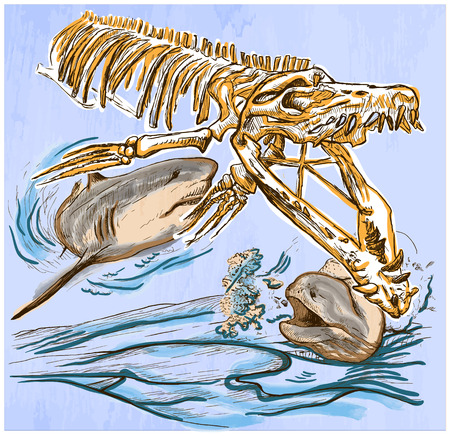 An hand drawn vector - Underwater PREHISTORY. Tylosaurus skeleton, Shark and Giant Moray - colored line art. Vector is editable in groups and layers - freehand sketching.