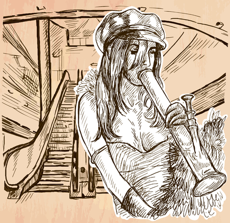 methamphetamine: An hand drawn vector - CRACK SMOKER. An young woman smoking crack pipe in an urban environment - line art. Vector is editable in groups and layers - freehand sketching.