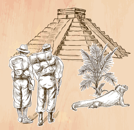 adventurers: An hand drawn vector - ADVENTURERS in front of South American Pyramid - line art. Vector is editable in groups and layers - freehand sketching.