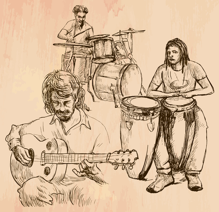 accords: An hand drawn vector - MUSIC BAND, guitar player and drummers - line art. Vector is editable in groups and layers - freehand sketching.