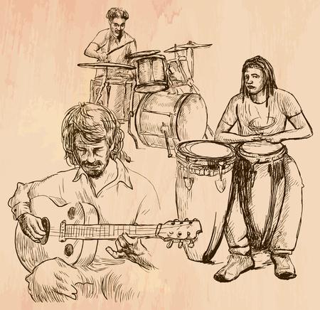 Un vector dibujado a mano - banda de música, reproductor de guitarra y tambores - línea arte. Vector es editable en grupos y capas - trazado a mano alzada.
