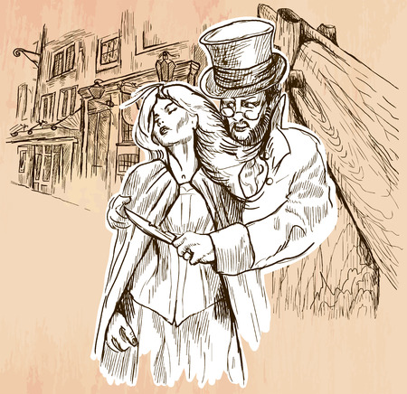 An hand drawn vector - JACK THE RIPPER and his victim. An killer with the knife threatening a young woman in old London city - line art. Vector is editable in groups and layers - freehand sketching. Ilustracja