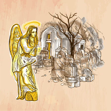 An hand drawn vector. ANGEL. Colored line art. Vector is editable in groups and layers. Freehand sketching of an beautiful Angel with young woman face standing in little churchyard with small church.