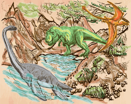 bestiary: T Rex, Plesiosaur and Pterosaur. DINOSAURS. Life in the prehistoric time. Freehand sketching, line drawing. Hand drawn vector. Colored background is isolated. Colored Line art. Editable vector.