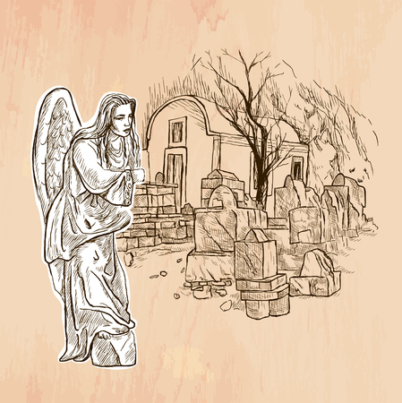 An hand drawn vector. ANGEL. Line art. Vector is editable in groups and layers. Freehand sketching of an beautiful Angel with young woman face standing in little churchyard with small church.