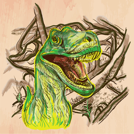 bestiary: T Rex. DINOSAURS - Life in the prehistoric time. Freehand sketching, line drawing. Hand drawn vector illustration. Colored background is isolated. Technique, colored line art. Vector is easy editable.