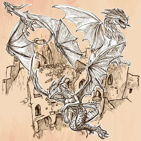 DRAGONS flying upon the old Castle, Ruins. Freehand sketching, line drawing. An hand drawn vector illustration. Colored background is isolated. Line drawing technique. Vector is easy editable.