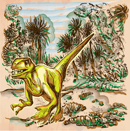 bestiary: Velociraptor. DINOSAURS - Life in the prehistoric time. Freehand sketching, line drawing. An hand drawn vector illustration. Colored background is isolated. Colored line art. Vector is easy editable.