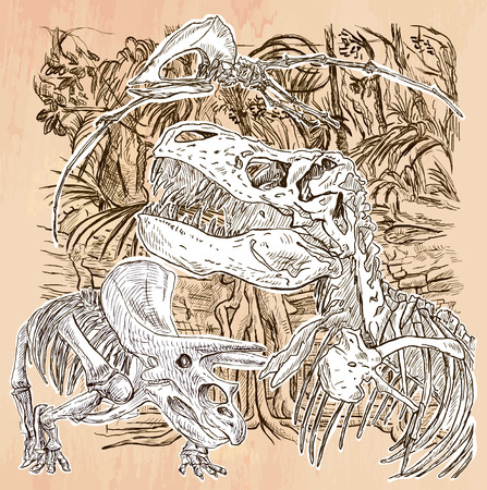 pterosaur: DINOSAURS T-Rex, Pterosaur and Achelosaurus skeletons. Life in the prehistoric time. Freehand sketching, line drawn. Hand drawn vector illustration. Colored background is isolated. Line art drawing. Illustration