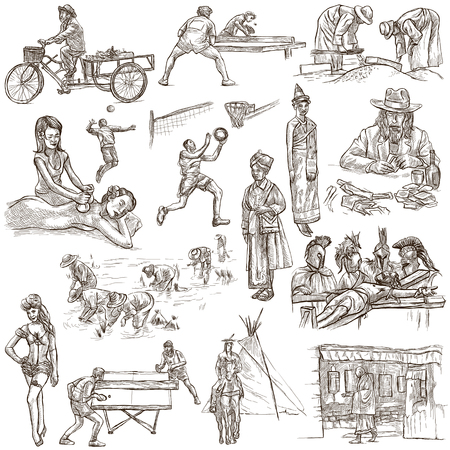 rice harvest: PEOPLE.Human race around the World. Nations. Group of people. Collection of  hand drawn illustrations. Pack of full sized hand drawings. Set of freehand sketches. Line art technique. White background.