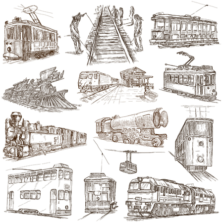 tramcar: On rails. Train and tram.Transport. Collection of an hand drawing illustrations. Pack of full sized hand drawn illustrations. Set of freehand sketches. Line art technique. Drawing on white background. Stock Photo