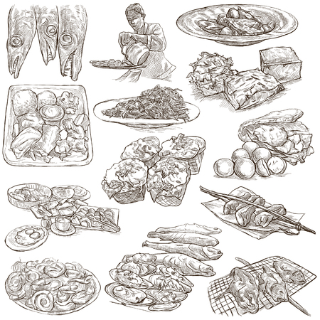 fish illustration: FOOD menu.Cuisine. Cooking. Dish. Collection of an hand drawing illustrations. Pack of full sized hand drawn illustrations. Set of freehand sketches. Line art technique. Drawing on white background.