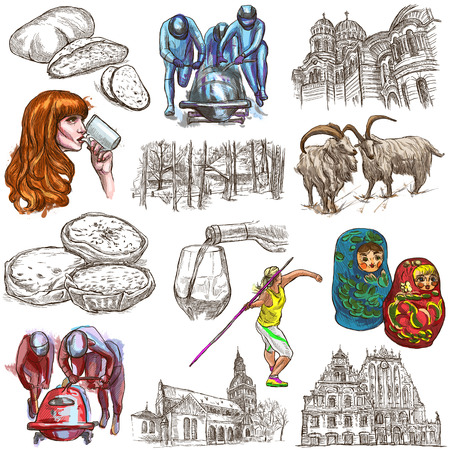 sized: Latvia.Republic of Latvia.Pictures of life and travel collection of  an hand drawn illustrations.Pack of full sized colored hand drawings.Set of freehand sketches.Line art technique.White background.