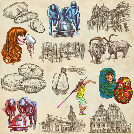 loci: Latvia.Republic of Latvia. Pictures of life and travel collection of an hand drawn illustrations.Pack of full sized colored hand drawings. Set of freehand sketches.Line art technique.Paper background.