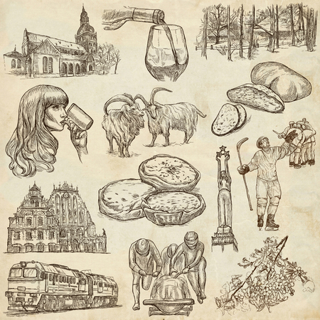 sized: Latvia. Republic of Latvia. Pictures of life and travel collection of an hand drawn illustrations. Pack of full sized hand drawings. Set of freehand sketches. Line art technique. Paper background.