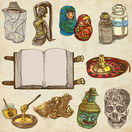 opium: OBJECTS. Different things and art objects. Collection of  hand drawn illustrations. Pack of full sized hand drawings. Set of freehand sketches. Colored line art technique. Old paper background.