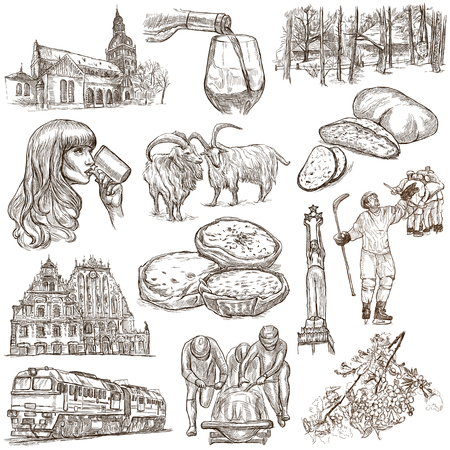 loci: Latvia. Republic of Latvia. Pictures of life and travel collection of an hand drawn illustrations. Pack of full sized hand drawings. Set of freehand sketches. Line art technique. White background.