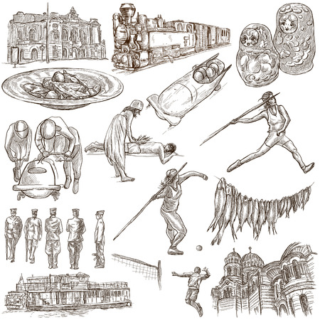 loci: Latvia. Republic of Latvia. Pictures of life and travel collection of  an hand drawn illustrations. Pack of full sized hand drawings. Set of freehand sketches. Line art technique. White background. Stock Photo