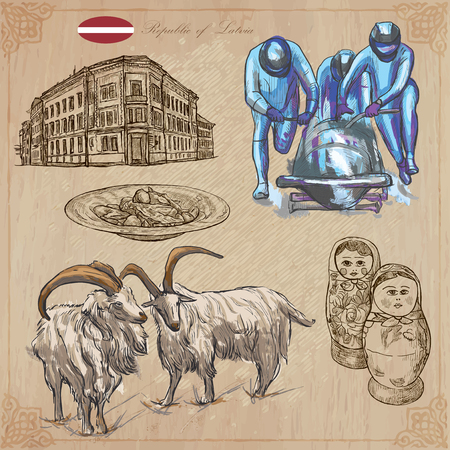 russian cuisine: Latvia. Republic of Latvia. Vector pictures. Pictures of life and travel collection of an hand drawn illustrations. Pack of hand drawings. Set of freehand sketches. Colored line art technique.