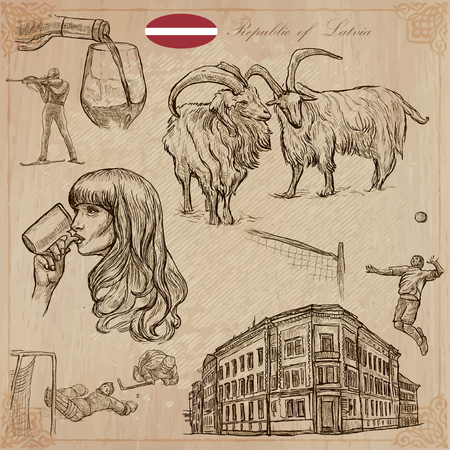 loci: Latvia. Republic of Latvia. Vector pictures. Pictures of life and travel collection of an hand drawn illustrations. Pack of hand drawings. Set of freehand sketches. Line art technique. Illustration