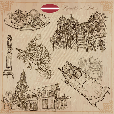Latvia. Republic of Latvia. Vector pictures. Pictures of life and travel collection of an hand drawn illustrations. Pack of hand drawings. Set of freehand sketches. Line art technique. Illustration