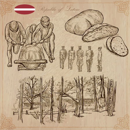 military draft: Latvia. Republic of Latvia. Vector pictures. Pictures of life and travel collection of an hand drawn illustrations. Pack of hand drawings. Set of freehand sketches. Line art technique. Illustration