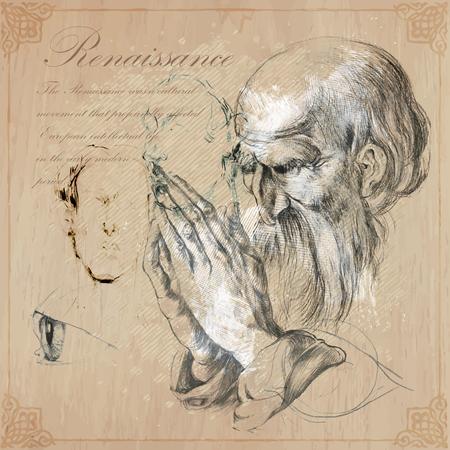 Hand gezeichnet illustrations.Old bärtigen man.Praying hands.Pencil Technik umgewandelt in den Vektor. Hand gezeichnete Illustrationen. Freihändig. Bleistiftskizzen. Hände von Albrecht Dürer persönlich, Autor eigene Kopie.
