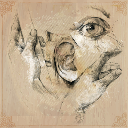 body parts: Hand drawn body parts - vector, pencil drawing Illustration