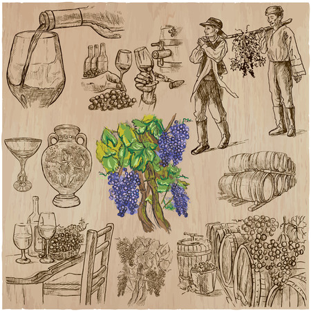 inebriation: Wine harvest. Vintage pack. Collection of hand drawn vector illustrations. Each drawing comprise a few layers of editable outlines. Freehand sketching set.