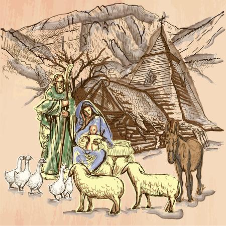 Sacra Famiglia. Gesù Bambino - Nascita di Gesù. schizzo a mano libera, disegno al tratto. Una illustrazione vettoriale disegnata a mano. Sfondo colorato è isolato. tecnica di arte Line - colorato. Vector è facilmente modificabile.
