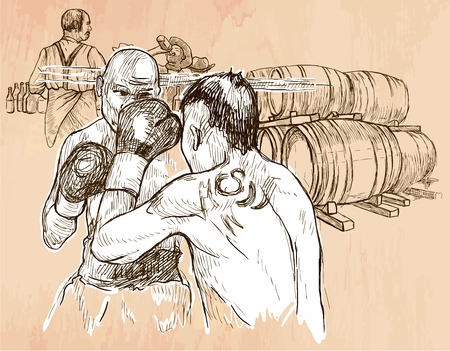 BOX. Boxing match in the pub. Freehand sketching, line drawing. An hand drawn vector illustration. Colored background is isolated. Line art technique. Vector is easy editable. Illustration