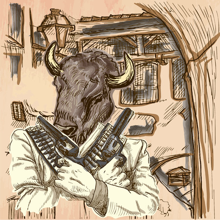 rifleman: Gunman. Animal Shooter - Bison. Freehand sketching, line drawing. An hand drawn vector illustration. Colored background is isolated. Line art technique. Colored. Vector is easy editable.