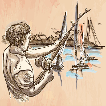 catch fish: FISHING. An fisherman catch fish on the sea shore. Freehand sketching, line drawing. An hand drawn vector illustration. Colored background is isolated. Line art technique - colored. Illustration