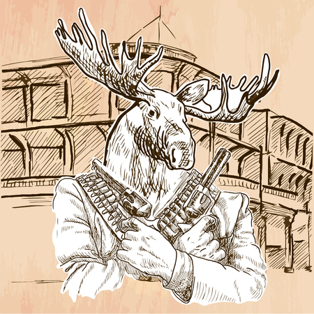 gunman: Gunman. Animal Shooter - Elk. Freehand sketching, line drawing. An hand drawn vector illustration. Colored background is isolated. Line art technique. Vector is easy editable.