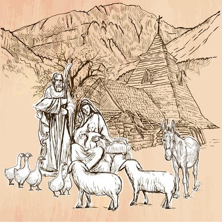 Sagrada Familia. jesús bebé - nacimiento de Jesús. trazado a mano alzada, dibujo lineal. Una ilustración vectorial de dibujado a mano. Color de fondo es aislado. técnica de la línea de arte. Vector es fácil editable. Ilustración de vector