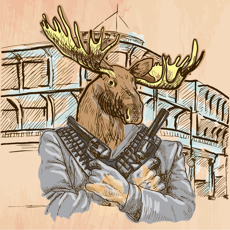 gunman: Gunman. Animal Shooter - Elk. Freehand sketching, line drawing. An hand drawn vector illustration. Colored background is isolated. Line art technique - colored. Vector is easy editable. Illustration