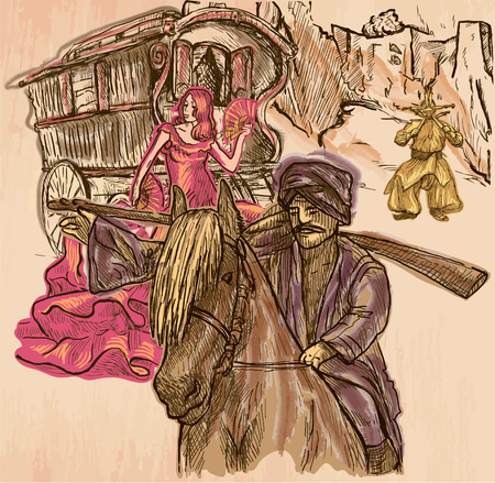 SAVAGES. A group of people - horse rider, juggler with knives and an woman with long dress. Freehand sketching, line drawing. An hand drawn vector illustration. Colored line art technique.