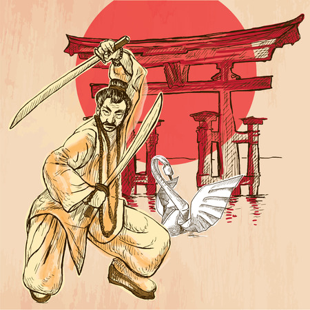 An Japan warrior with the swords, Shinto sign and white paper origami swan. Freehand sketching, line drawing. An hand drawn vector illustration. Colored line art technique.