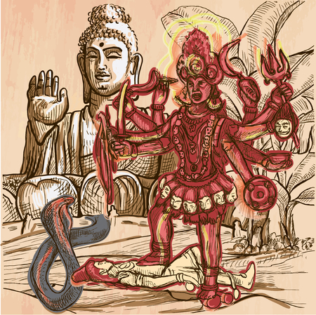 kali: KALI. Hindu Goddess posing with her victim in front of big Buddha statue. Freehand sketching, line drawing. An hand drawn vector illustration. Colored line art technique.